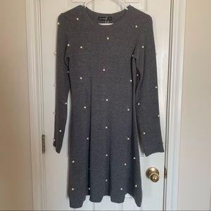 NWT ZARA Knit Gray Pearl Dress Size S